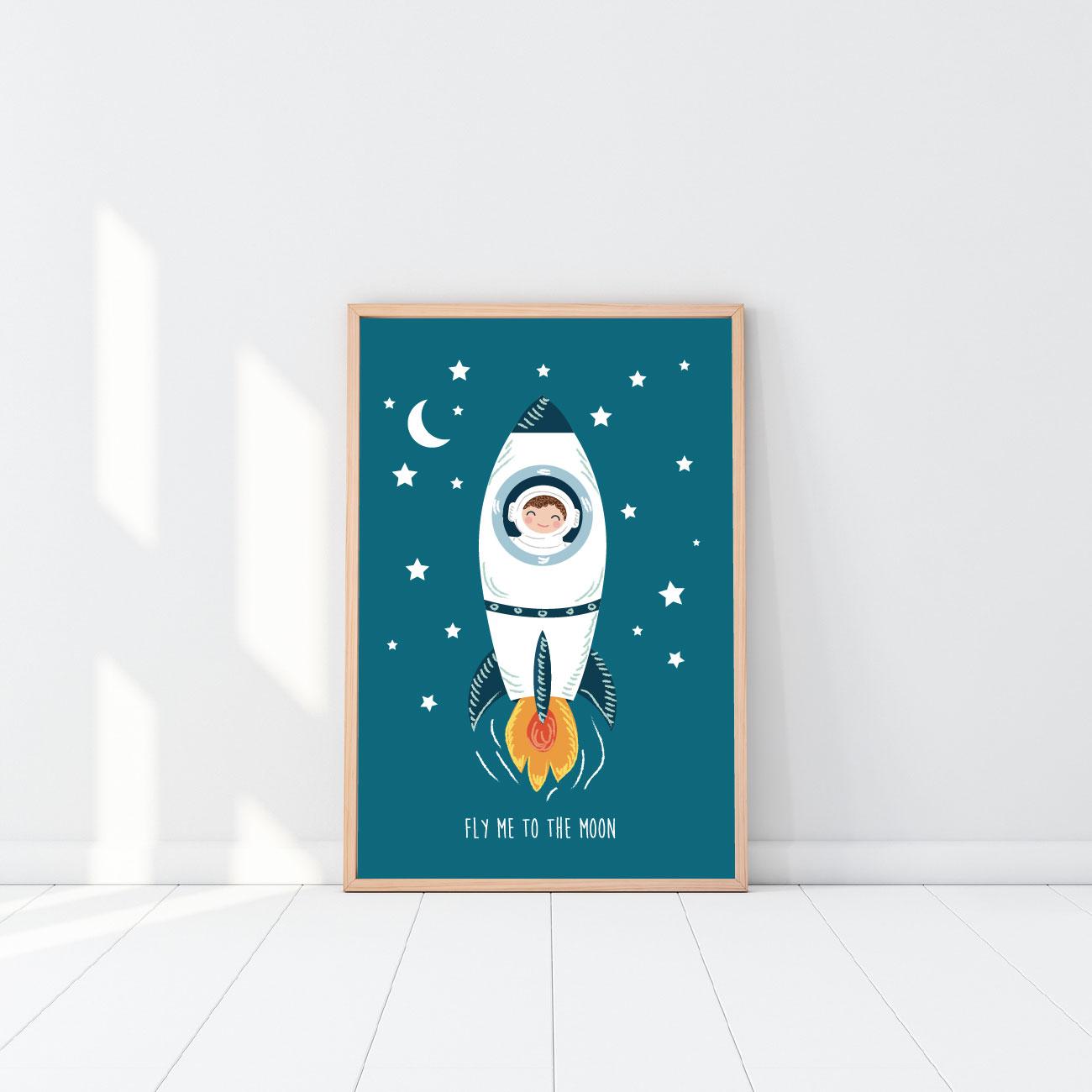 affiche astronaute affiche d corative affiche chambre enfant. Black Bedroom Furniture Sets. Home Design Ideas