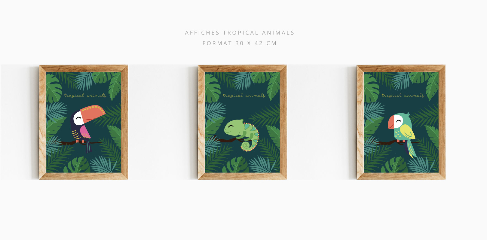 AFFICHE TROPICAL ANIMALS