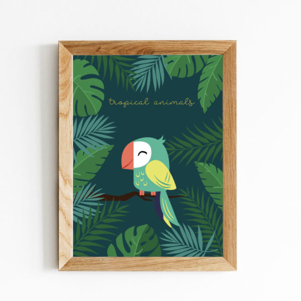 AFFICHE PERROQUET TROPICAL